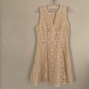LC Lauren Conrad | Cream dress crochet overlay 10